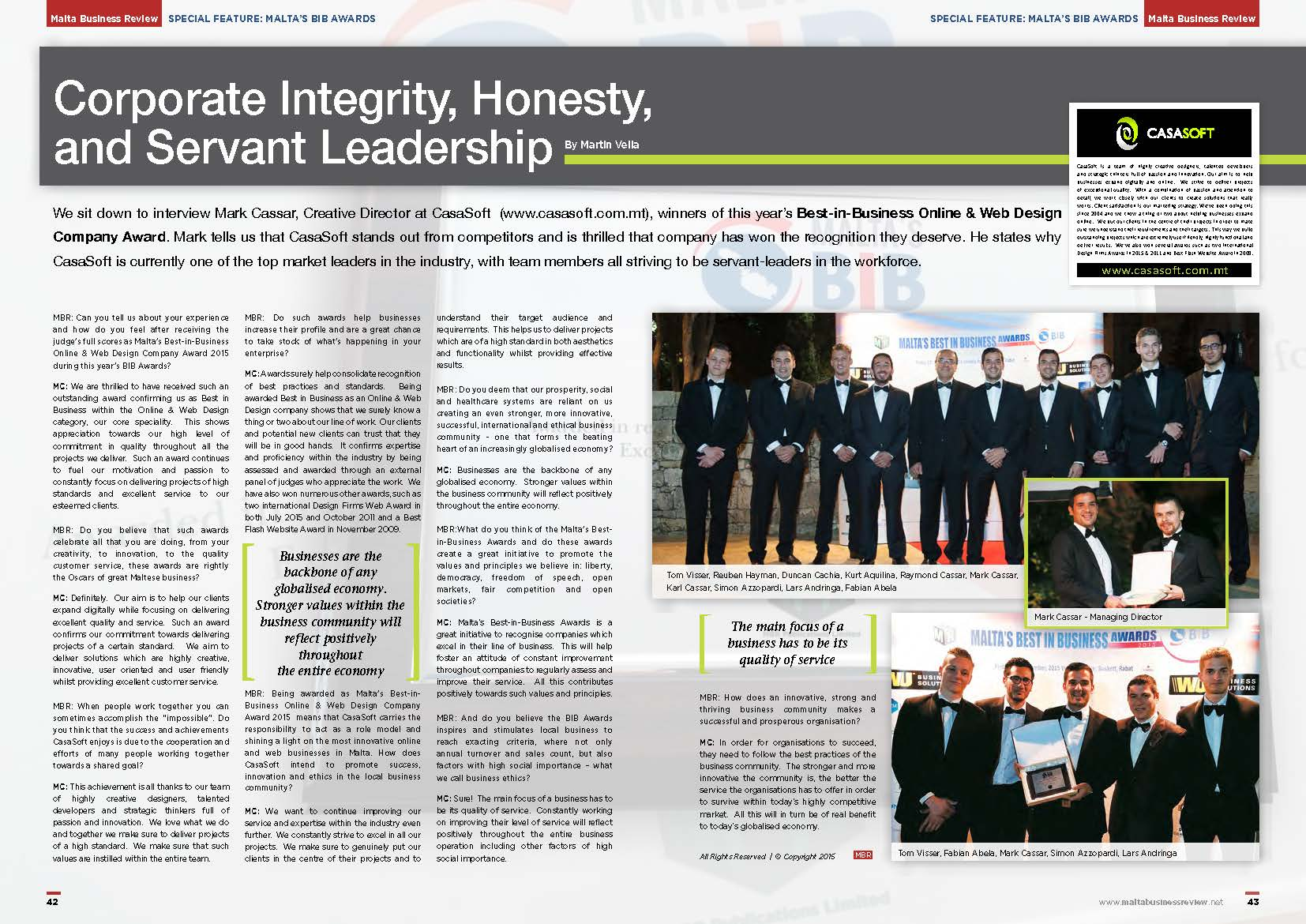 CasaSoft Malta's Best in Business Online & Web Design Agency interview in the Malta Business Review in The Malta Independent on Sunday