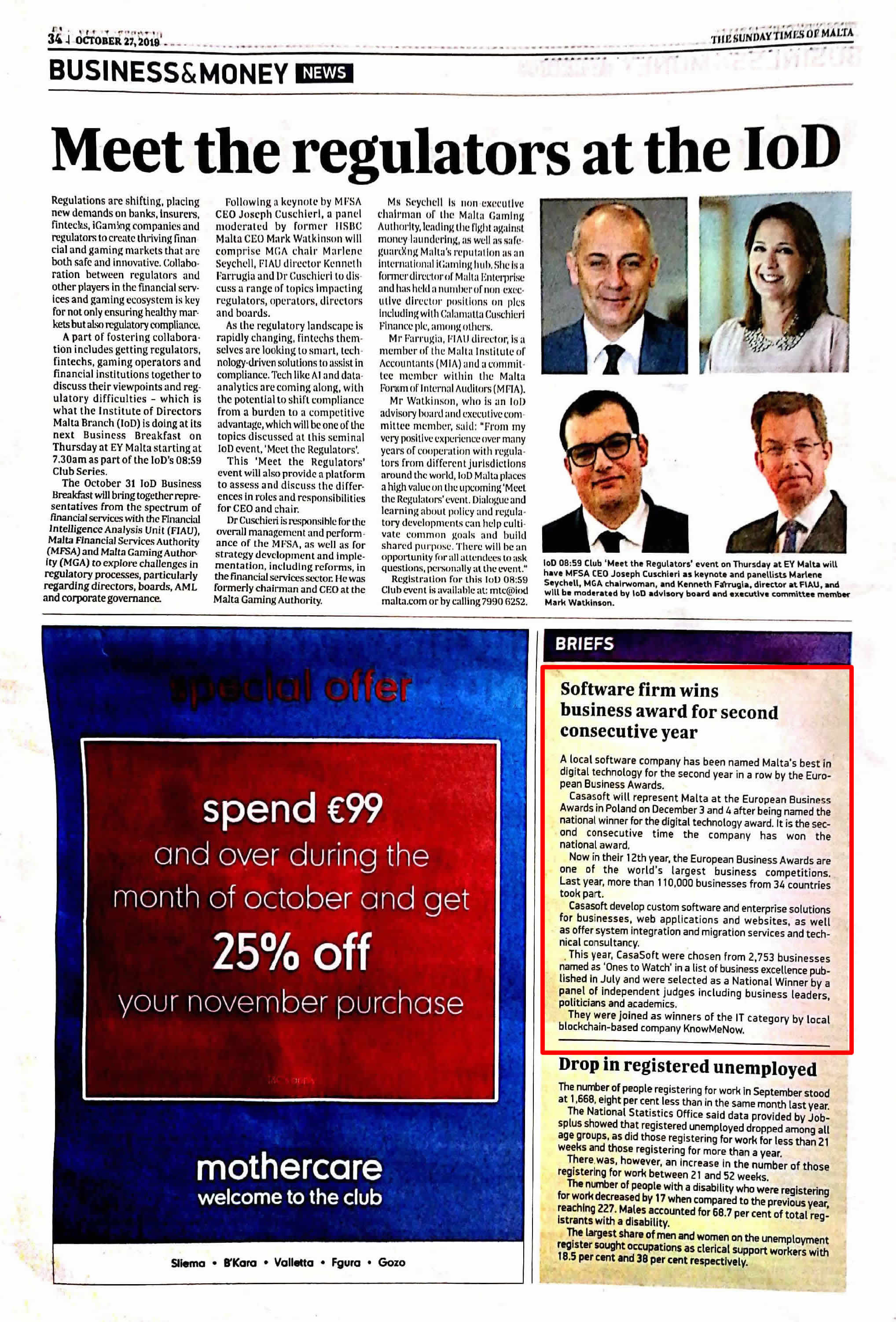 CasaSoft's achievement featured in the Sunday Times of Malta (27 Oct 2019) under the Business & Money section